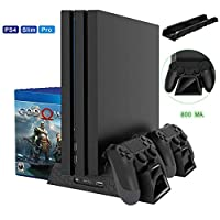 Lenboken PS4/ PS4 Slim/ PS4 Pro Cooler,Multifunctional Vertical Cooling Stand,PS4 Controller Charger Charging Dock Station with 12PCS Games Storage Regular for Playstation 4