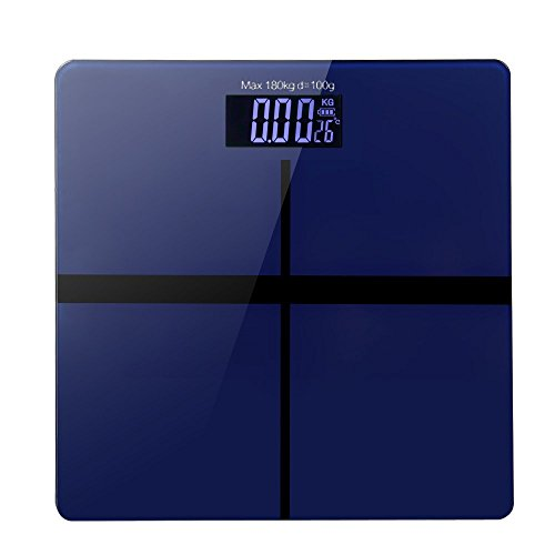 高精度 デジタル 体重・体 組成 計 「乗るピタ機能」 超薄型 ボディースケール (blue)