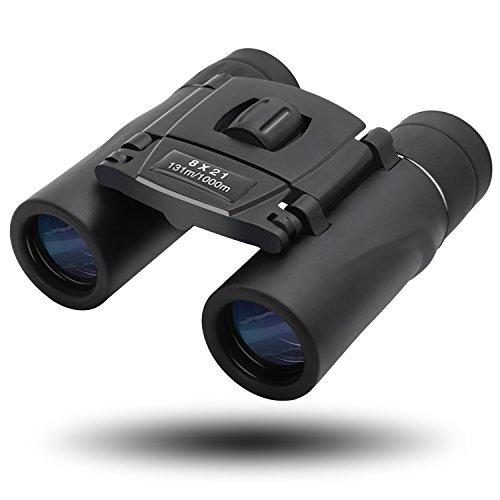 MEGICOT 双眼鏡 8倍 8*21 実視界 7° BAK4プリズム 夜間対応 生活防水 折りたたみ式 コンパクト ブラック