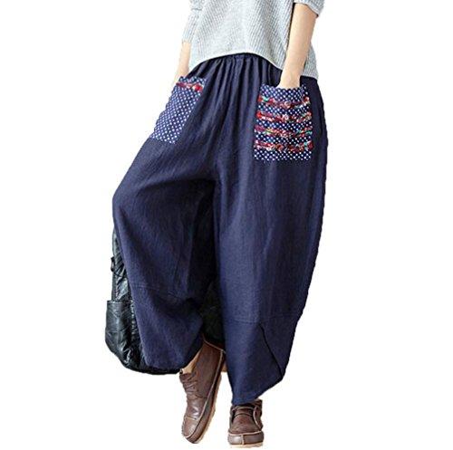 (オンリカ) Orika レディース 夏 カジュアル 民族風 キルティング 麻綿 ワイドパンツ ゆったり ズボン サルエル パンツ(A8ネイビー)