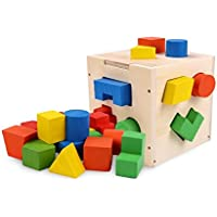 HuaQingPiJu-JP 子供のための高品質の木製の形状ソーター幾何学的な並べ替えボックス教育形状色認識玩具