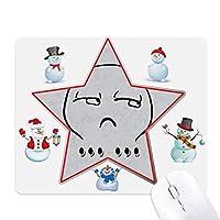 サイレントブラックかわいいチャット絵文字パターン クリスマス・雪人家族ゴムのマウスパッド