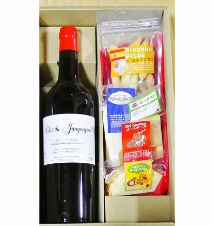 大人のギフト ワインギフト クロ・デュ・ジョゲイロン オー・メドックA.C 赤  赤ワイン & ピコス&チーズ5種