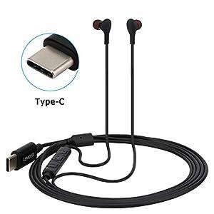 USB Cイヤホン LEWOER Type C有線型イヤフォン 高音質重低音(DACチップ-ハイレゾ) 有線カナル型 ステレオヘッドホン 遮音性 リモコンマイク付き 対応機種: Sony Xperia XA2/XZS/XZ3,Sharp Aquos S2/S3, New iPad Pro 2018/MacBook Air, スマホやノートパソコンなどのタイプCの電子機器