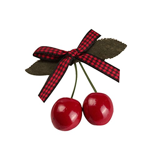 ヘアピン 髪留め 髪飾り ヘアアクセ ヘアアレンジ 子供 女の子 キュート 可愛いクリップ 桜桃 赤 リボン 2個セット (01赤、黒(チェック柄))