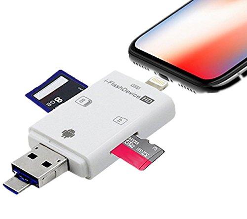 PAFOR SD カードリーダー iphoneデータ保存 機器 メモリー カードリーダー MicroSD TFカードリーダー Android iphoneデータ転送 カメラ用SDカード リーダー 写真 動画 音楽 直接転送可能 容量不足 データ転送 データ移行 カードリーダー iPhone X 8 7 6s 6 カードリーダー AndroidとPC直接使用できる カードリーダー