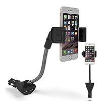 braceusユニバーサル回転可能デュアルUSB車充電器クレードル携帯電話マウントスタンドホルダーブラック