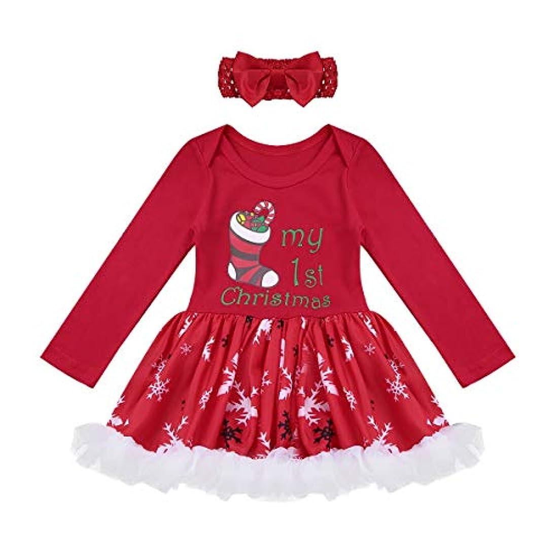 不愉快異議早い(アゴキー)Agoky 新生児 ベビー 子供 ガールズ クリスマス サンタクロース キッズ コスチューム 長袖 ロンパース ワンピース ドレス チュチュスカート ヘッドバンド付き レッド2 80