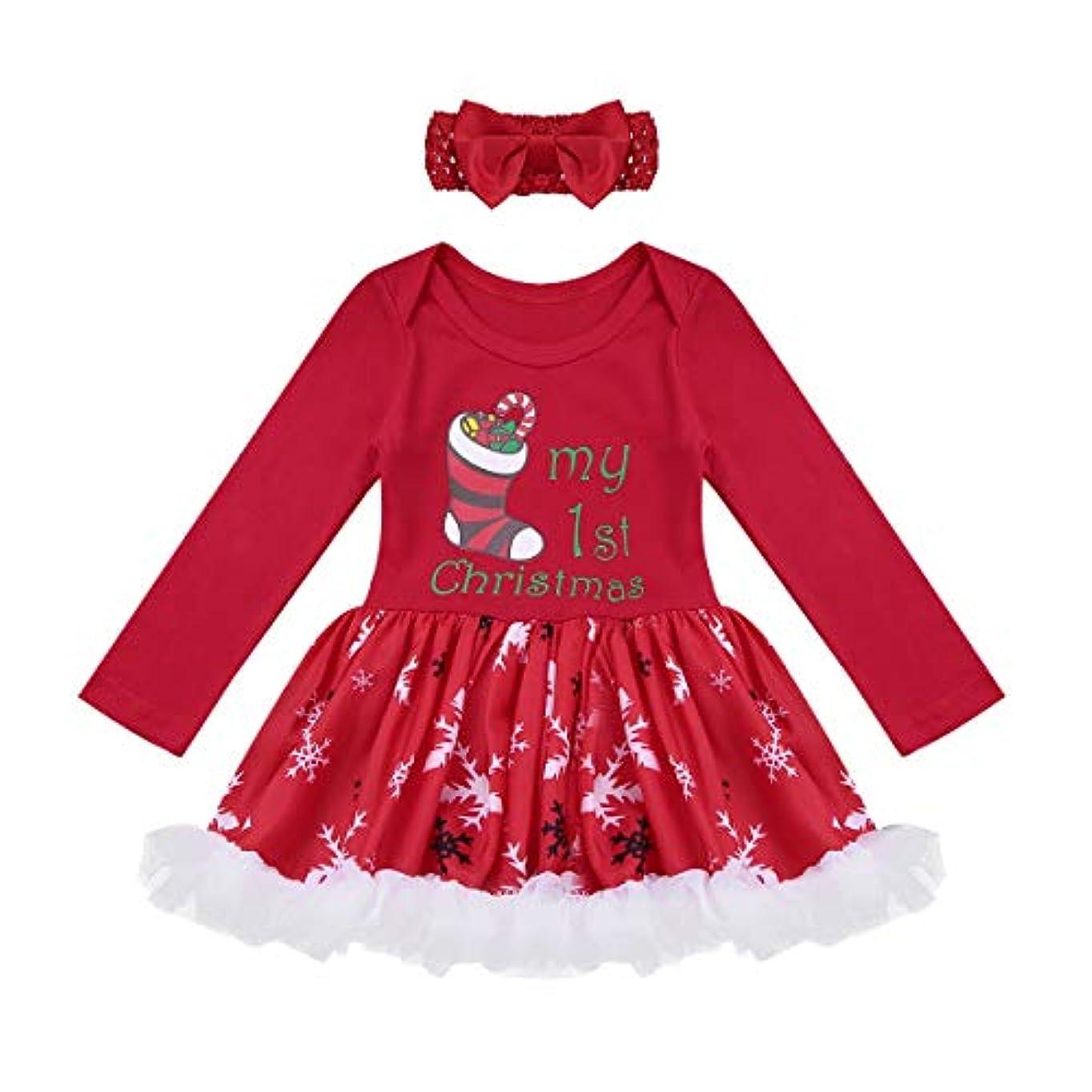 手のひら収束する枯渇(アゴキー)Agoky 新生児 ベビー 子供 ガールズ クリスマス サンタクロース キッズ コスチューム 長袖 ロンパース ワンピース ドレス チュチュスカート ヘッドバンド付き レッド2 80