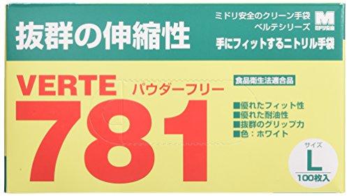 ミドリ安全 ベルテ ニトリル手袋 781N 粉なし ホワイト L 100枚×100枚