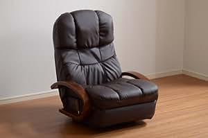 回転式リクライニング座椅子【MEISA】メイサ(ブラウン)