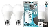 Miracle LED 606500 冷蔵庫および冷凍庫用 長寿命 省エネ電球 昼光色 3ワット 2パック