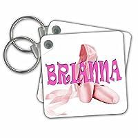 3droseリナピロ–キッズ–Brianna。ピンクバレエ靴。バレリーナ。–キーチェーン set of 2