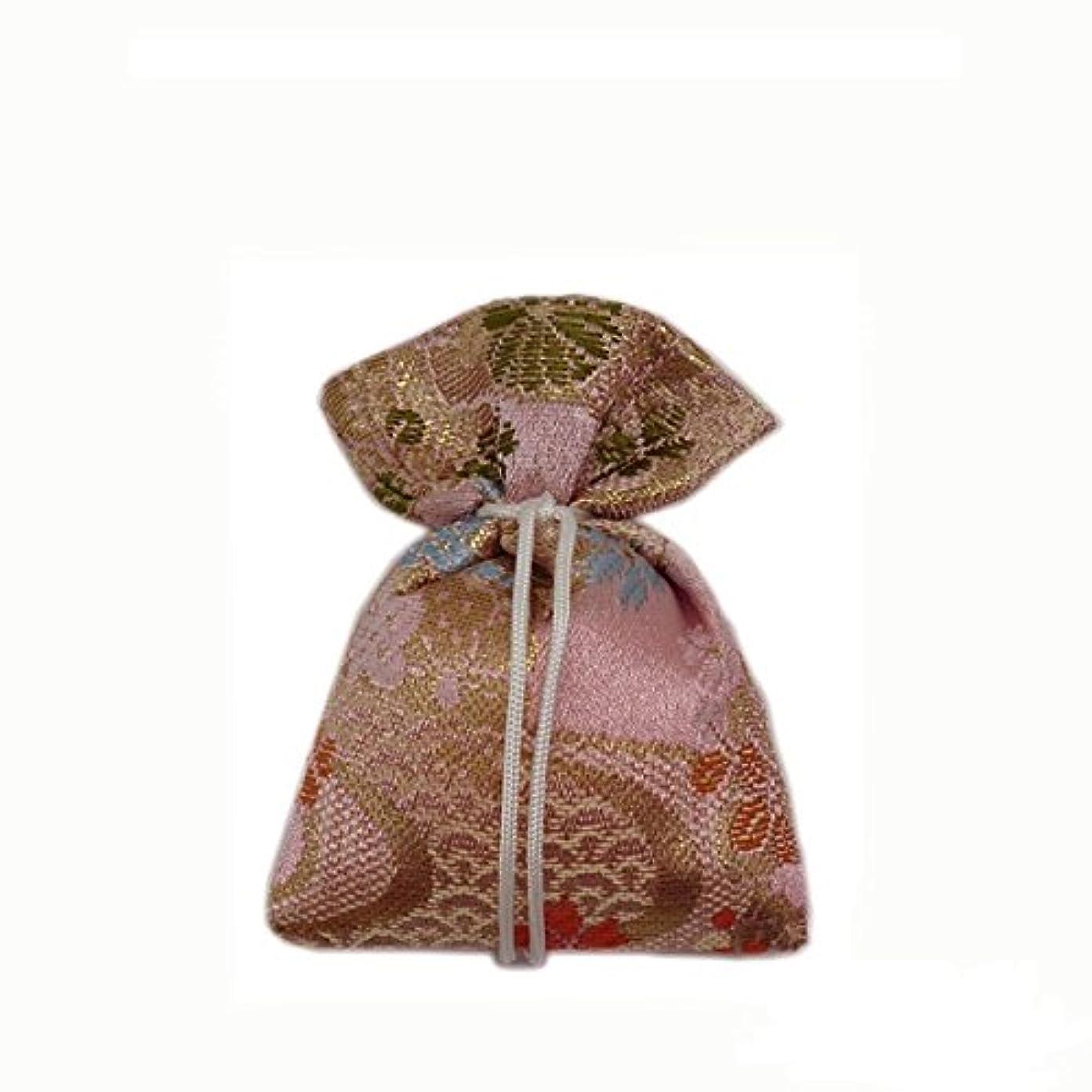 追う誇張敬意を表する匂袋 巾着 金襴中 ピンク系