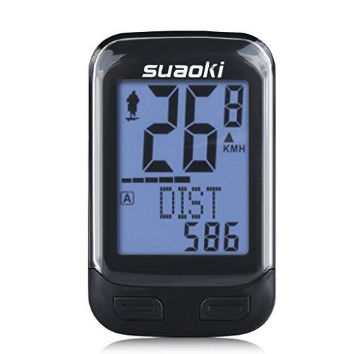 suaoki 改良版 サイクルコンピューター スピードメーター ワイヤレス 簡単取付 バックライト 多機能 ケイデンス スピード 距離 気温 消費カロリーなどを計測
