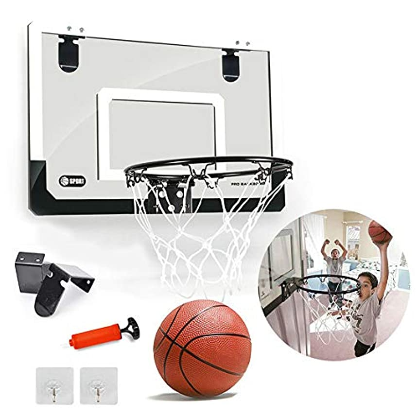 道徳教育居間ハイジャックボール付き屋内ミニバスケットボールフープ、飛散防止バックボードドア/壁、子供用屋内用セットミニバスケットボールゲーム