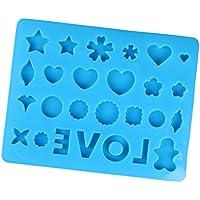Perfk DIYツール 全3色 ジュエリー作成 シリコーン 愛と花の形 金型ツール クラフト  工芸品 - 青