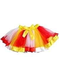 FENICAL ガールズレインボーカラーメッシュツツスカートボウデコレーティング子供ダンススカートキッズパフォーマンススカート(L)
