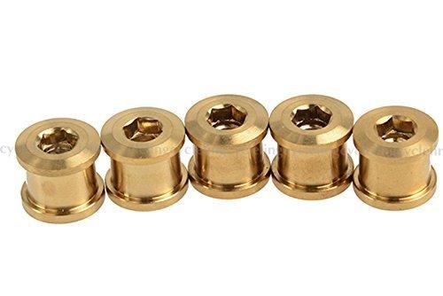 チタン クランク チェーンリング ボルト&ナット M8ロードバイク マウンテンバイク ゴールド 5個 ROCKBROS(ロックブロス)
