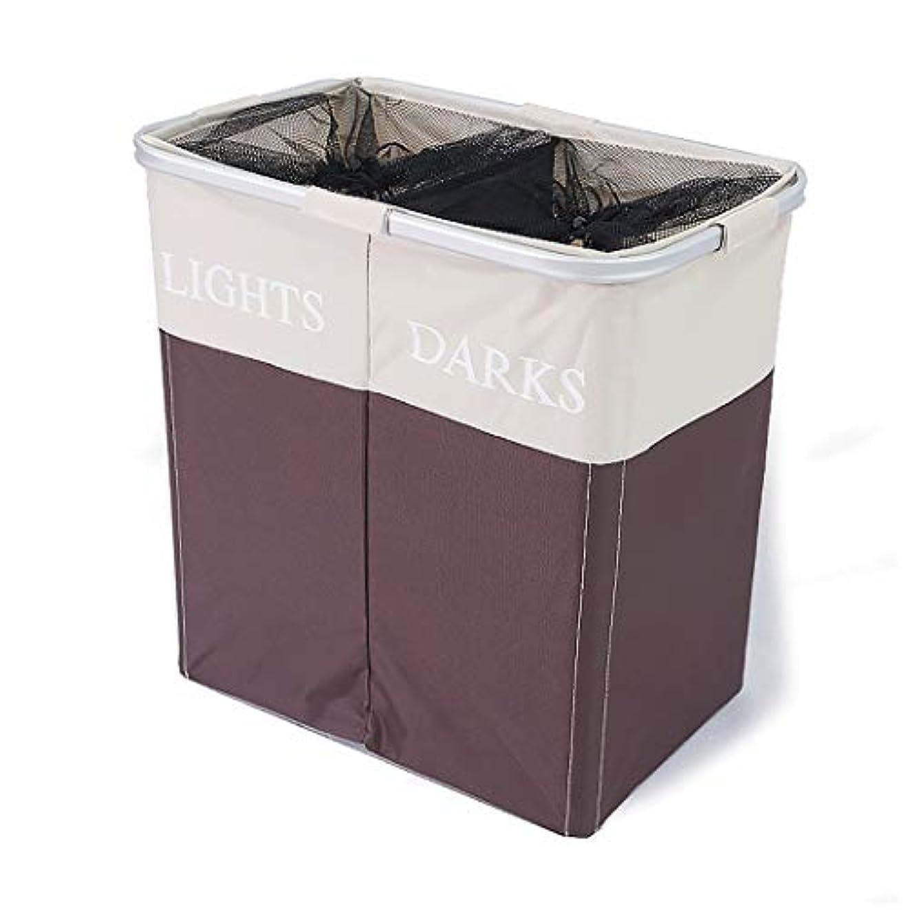 ムス昨日宿題折りたたみ収納袋の分類汚れた服収納バスケット汚れた服収納オックスフォード布おもちゃのバスケットランドリーバスケット (色 : Brown White)