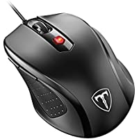 Qtuo マウス 有線マウス 4段階のDPIモード 3200DPI 高精度 ボタンを調整可能 CA57BN有線版 コンパクト 省エネルギー 持ち運び便利 ブラック 18か月保証付き