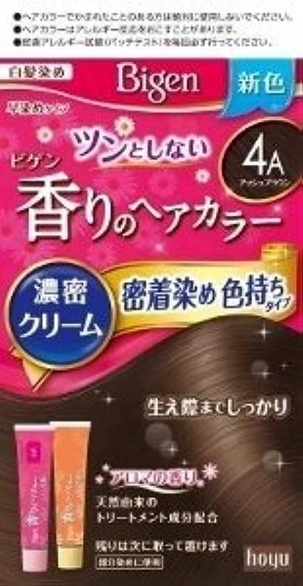 ルーキーリーフレットマントホーユー ビゲン 香りのヘアカラー クリーム 4A (アッシュブラウン)×3個