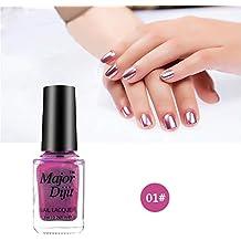 Niome 7ml Shinny Mirror Effect Nail Polish Magic Metallic Color Environmentally Nail Art Polish 01# Pink