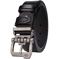 BISON DENIM Mens Leather Belt Genuine Leather Buckle Belt Cool Belt for Dress&Jeans