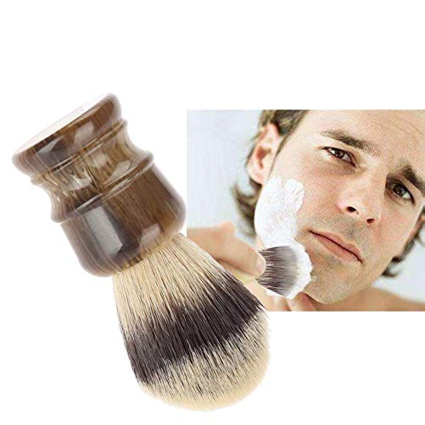 胆嚢資本個人的にシェービングブラシ 髭剃りブラシ 木材ハンドル+ナイロン毛 泡立て ひげ剃りツール メンズ理容ブラシ