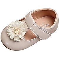 Elogoog Fashion Toddler Girls Leather Flower Design Soft Round Toe Princess Shoes Mary Jane Flat Shoes