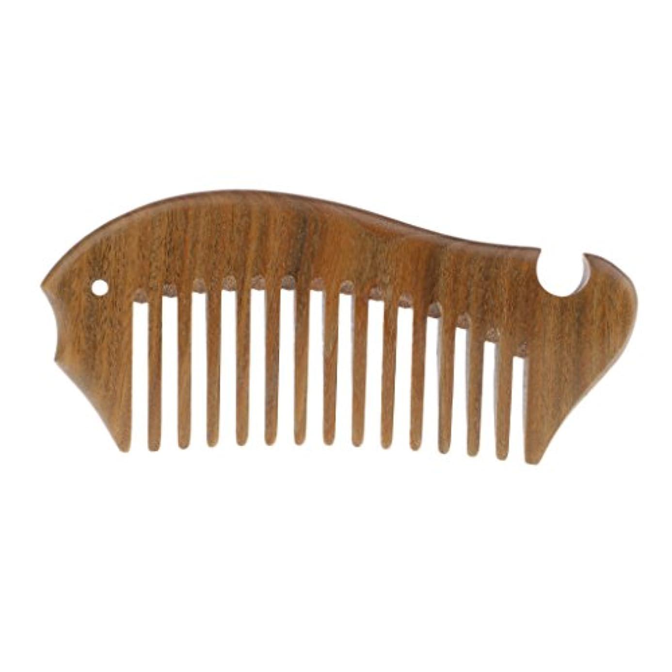 マンモスアルカトラズ島アルファベット木製櫛 帯電防止櫛 ヘアコーム 頭皮 ケア マッサージ