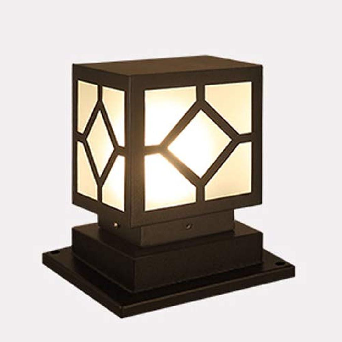 薬思慮のないペアPinjeer E27スクエアブラック屋外防水ガラスポストライティングヴィンテージ産業金属アルミ柱ランプガーデン芝生の風景ホームヴィラ装飾的な列のライト (Color : Solar energy)