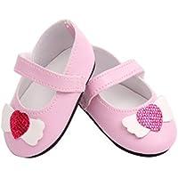 HuaQingPiJu-JP レザーシューズ玩具アクセサリー18インチ人形アクセサリー(ピンク)