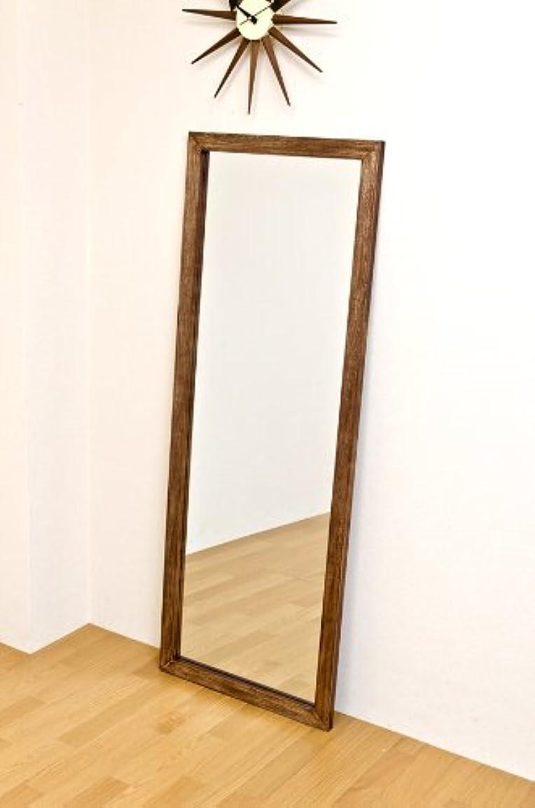 復活脳中でジャンボミラー アンティーク調 幅60cm×高さ160cm[ブラウン?茶]/転倒防止金具付属 大きい鏡