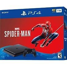 Onwebshop(TM) Marvels Spider-Man PS4 Sony Playstation 4 Slim 1TB Jet Black Console