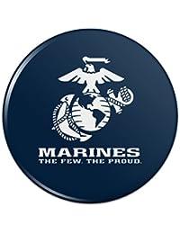 海兵隊員誇り高きUSMCホワイト?ブルー正式に認可されたピンバックボタンピンバッジ - 1