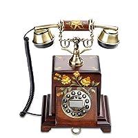 HY 屋内オフィスのビジネス固定電話に使用される多色のソリッドウッドボタンレトロ電話 (色 : Brown hand-painted)