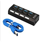 HUBs, 4 Ports USB 3.0 Charger Hub with Individual Switch Compatible with Laptops, Desktops, Tablet, U Drive, Mobile Phone, Mo
