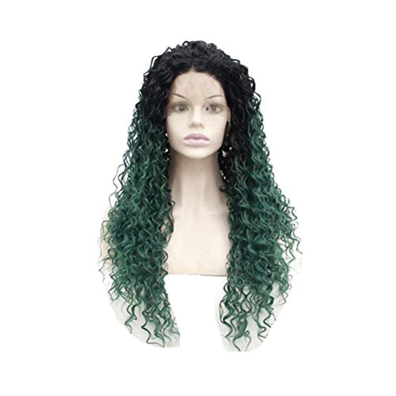 作り人暫定ZXF ヨーロッパとアメリカの化学繊維高温シルクブラックグラデーション染められた熱い通気性の14-26インチの女性のかつらで緑の長い巻き毛の手織りフロントレース 美しい (Size : 22