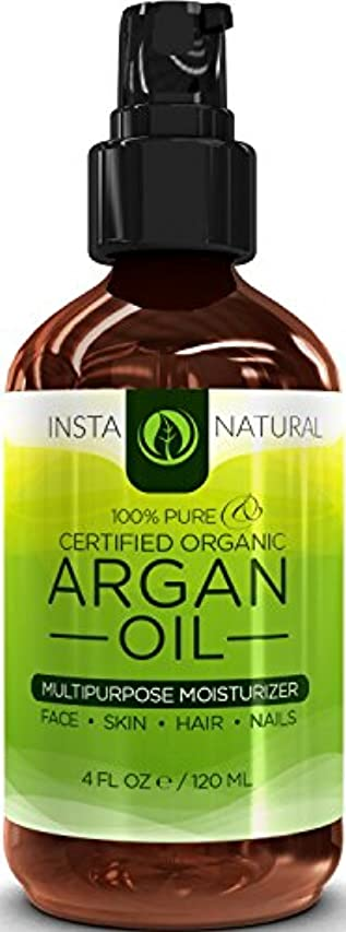 敏感な脊椎モーションInstaNatural Organic Argan Oil For Hair, Face, Skin & Nails - 100% Pure & EcoCert Certified Organic Argan Oil Multipurpose Moisturizer, 4 Fluid Ounce 髪、顔、皮膚niアルガン油オイル  並行輸入品