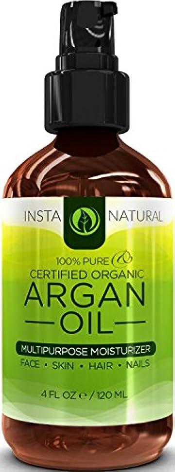 スローガン苦行多年生InstaNatural Organic Argan Oil For Hair, Face, Skin & Nails - 100% Pure & EcoCert Certified Organic Argan Oil Multipurpose Moisturizer, 4 Fluid Ounce 髪、顔、皮膚niアルガン油オイル  並行輸入品