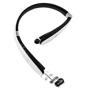 BEST Bluetooth 4.1スポーツイヤホン 白黒2色 ネックバンド型 CVC6.0ノイズキャンセルテクノロジー搭載 防水 防滴 内蔵式マイク ヘッドフォン (ホワイト)