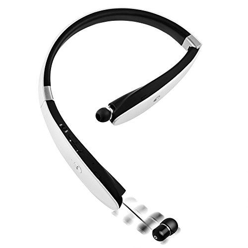 BEST Bluetooth 4.1スポーツイヤホン ブルートゥース イヤホンiphone7対応 白黒赤靑4色 ネックバンド型 長時間再生 CVC6.0ノイズキャンセルテクノロジー搭載 防水 防滴 内蔵式マイク ヘッドフォン iPhone iPad Android などの各機種に対応(ホワイト)