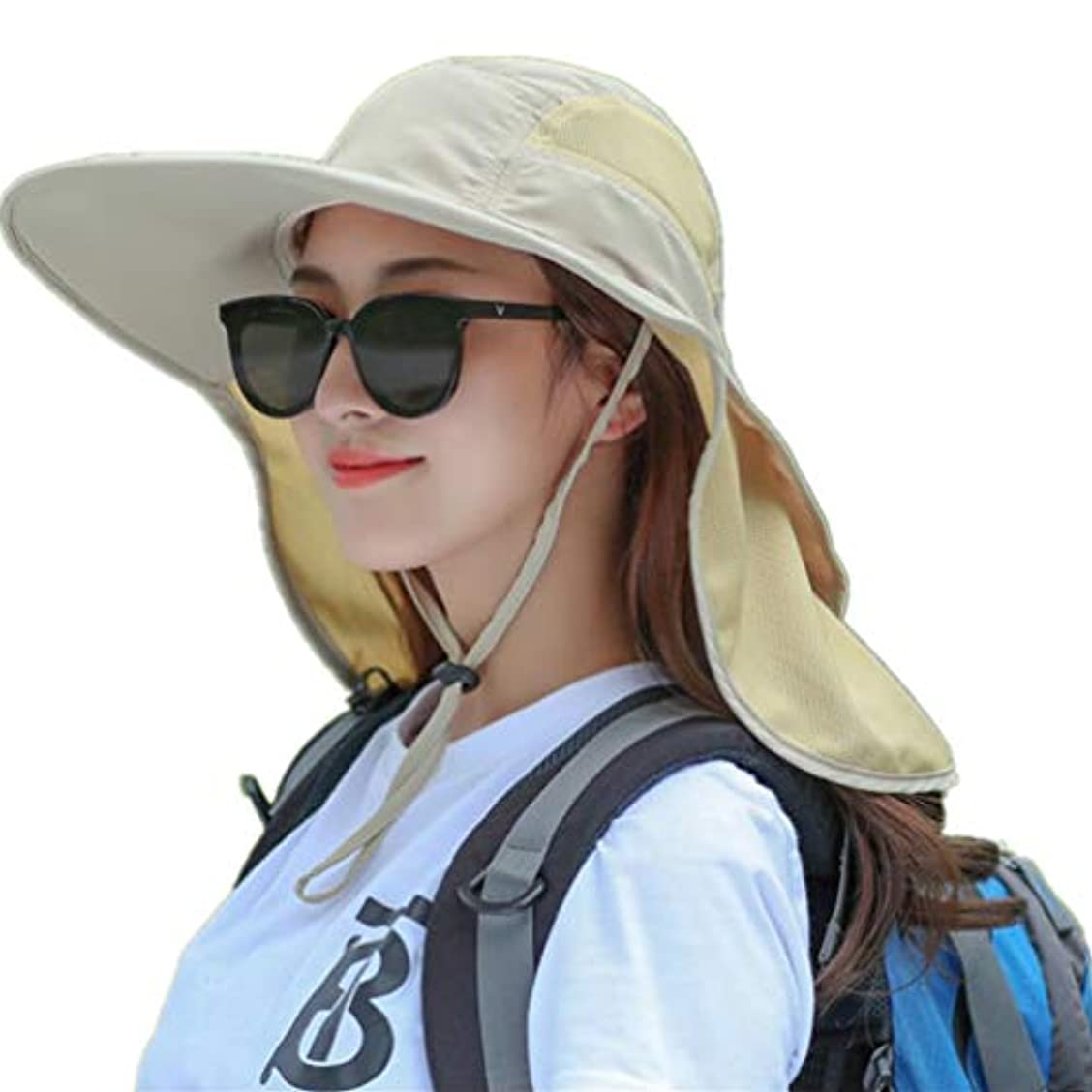 フィードトリプル悪夢Dukars アウトドア UPF 50+ 日焼け防止 サファリキャップ 折りたたみ可能 サンハット 幅広つば フィッシングハット ネックフラップ付き メンズ レディース