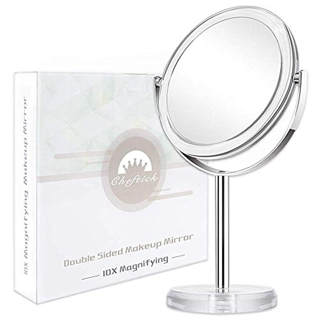 毎日市民権浸したCheftick 10倍&等倍両面鏡 化粧鏡 拡大鏡 スタンドミラー 360°回転 取り外せる