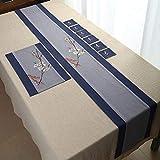 QY テーブルランナー ダイニングテーブル ランナー テーブルフラグ コットンとリネン 刺繍 禅 和風 中華風 リネン ティーテーブル テーブルクロス 中国語 平野 洗える QY テーブルランナー (Color : T12, Size : 40*260CM)