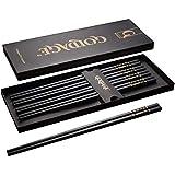 Foster (Goldage) 5-Pairs Fiberglass Dishwasher-Safe Chopsticks (Blossom of Richness - Gold & Black)
