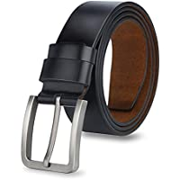 Expresstech @ Black Genuine Leather Belts 120cm for Men Adjustable Leather Strap Waist Strap Waistband Buckle Belt for Work Business Smart Casual Casual Style Men's Fashion Trends with Gift Box