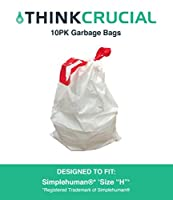 "Think Crucial 10PK Durable Garbage Bags Fit simplehuman 'size ""H""' 30-35L / 8-9 Gallon [並行輸入品]"