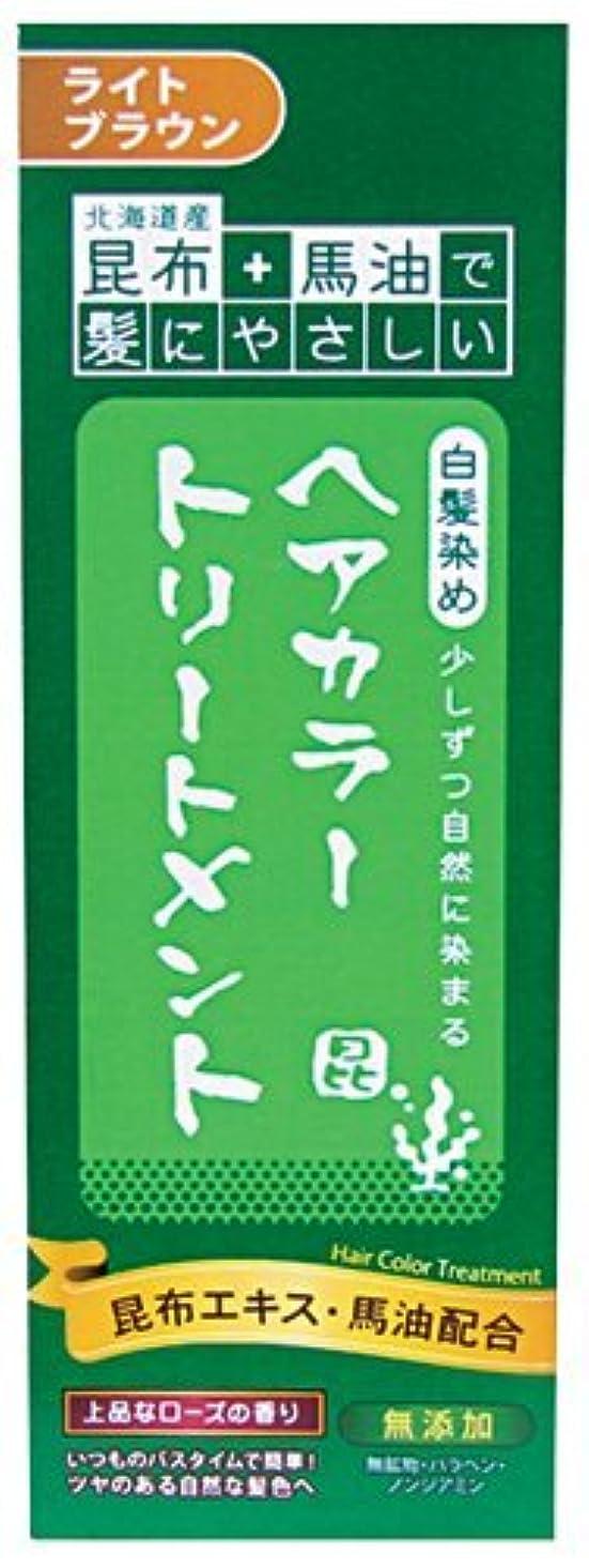 障害者不安簡単な北海道産昆布+馬油で髪にやさしい 白髪染め ヘアカラートリートメント ライトブラウン × 24個セット